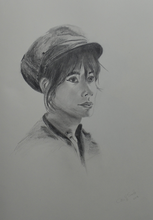 Chris HE Smith Urbane Muse study of Francoise Hardy Sketch on Paper