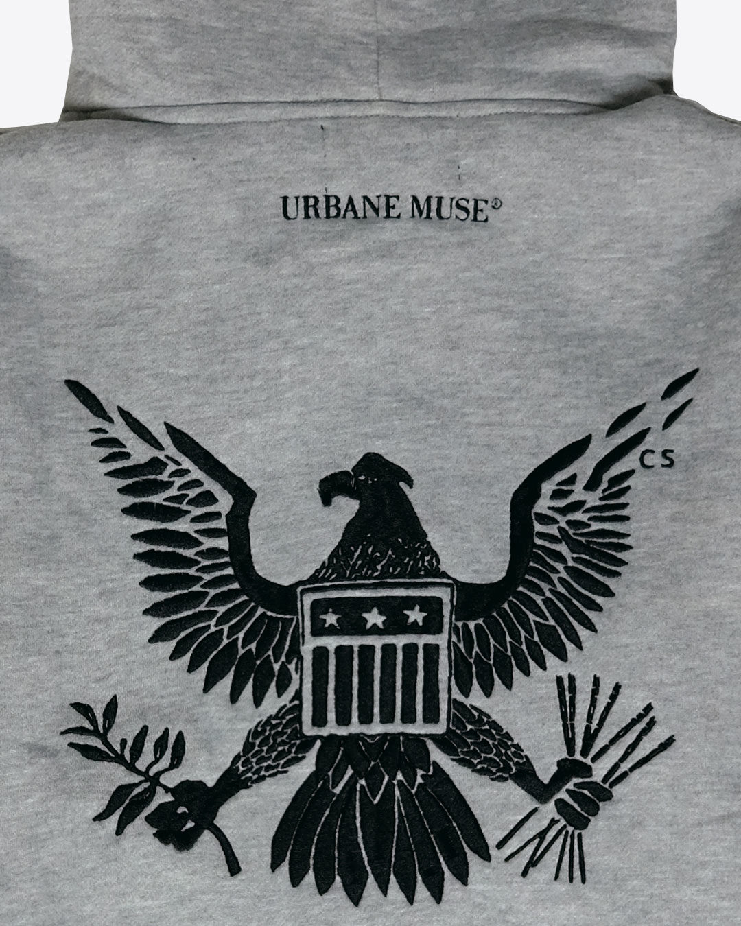 URBANE MUSE® Embroidered Eagle Hoodie in Grey