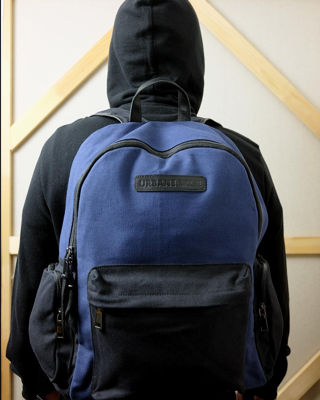 photo-1-Modeling-Blue-Cotton-Backpack-URBANE-MUSE-CHRIS-SMITH