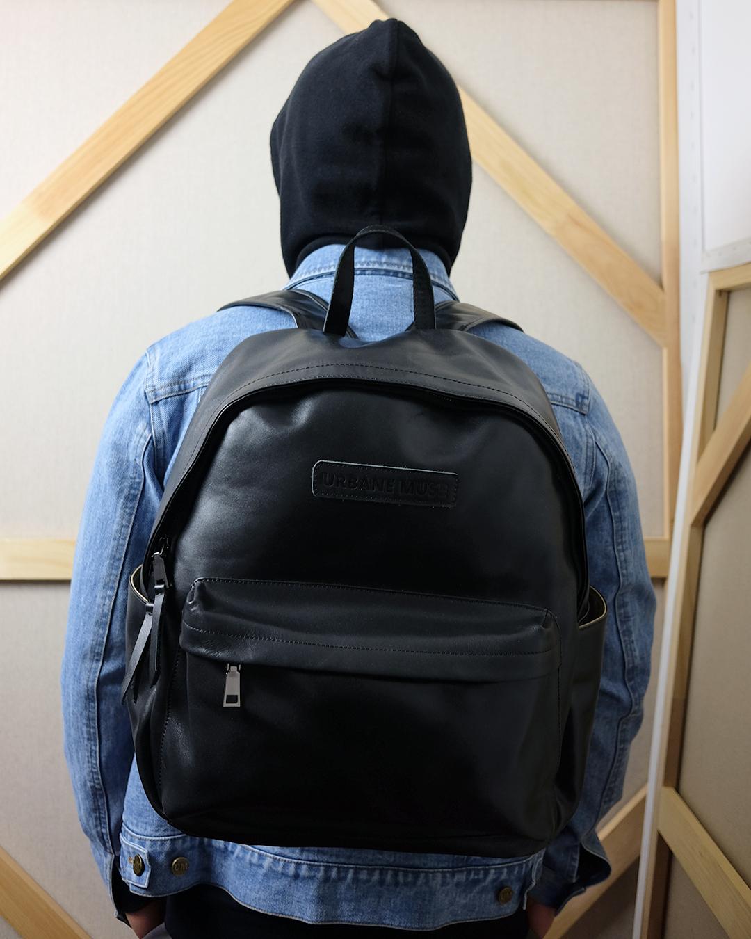 photo-2-Modeling-Black-Leather-Backpack-URBANE-MUSE-CHRIS-SMITH