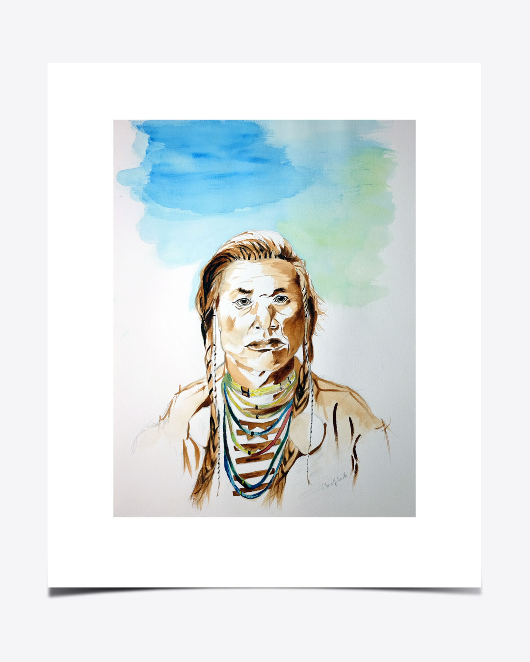 Native-American-Portrait-Water-Color-on-Paper-URBANE-MUSE-CHRIS-SMITH